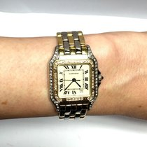 Cartier Panthere 2 Tone Unisex Watch W/ Diamonds 18k Yellow...