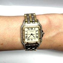Cartier Panthere 2 Tone Unisex Watch W/ Diamonds 18k Yellow...