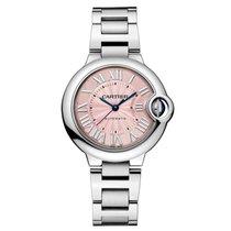 Cartier Ballon Bleu 33mm Stainless Steel Watch Pink Dial