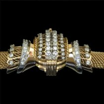 Omega bracelet or rose 18k et platine diamants vers 1960
