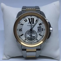 Cartier Calibre Steel and 18k Yellow Gold White Dial