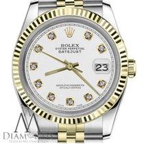 Rolex White Rrt Ladies 26mm Datejust 18k Yellow Gold 2tone Ss...