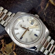 Rolex DAY DATE II WHITE GOLD BAGUETTE DIAMOND AND SAPPHIRE D