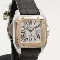 Cartier Santos 100 Lady Steel and Pink Gold NEW STRAP - Full...