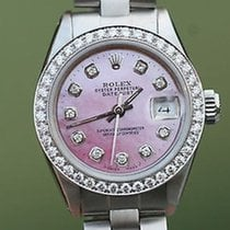 Rolex Ladies 26mm Datejust Steel Pink Mother Of Pearl Diamond...