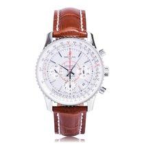 Breitling Montbrillant Steel Brown Strap Mens Watch AB013012/G...