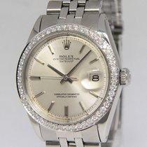 Rolex Datejust Stainless Steel Diamond Bezel Silver Dial Mens...