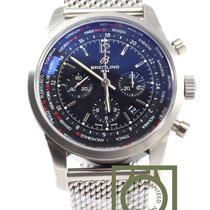 Breitling Transocean Chronograph Unitime Black Dial Steel  NEW