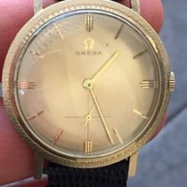 Omega Vintage Solid Gold Used Watch 34mm Case 26gms Black...