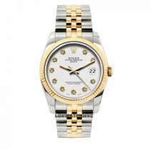 Rolex Date Unisex 34mm White Dial Stainless Steel And Gold...