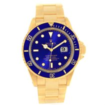 Rolex Submariner 18k Yellow Gold Blue Dial Mens Watch 16618...