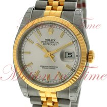 Rolex Datejust 36mm, Silver Dial, Fluted Bezel - Yellow Gold...