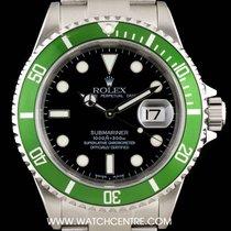 Rolex S/S Rare Mark I Dial Flat 4 Green Bezel Submariner 16610LV
