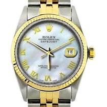 Rolex Datejust Men's 36mm White Mother Of Pearl Yellow...