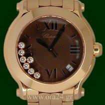 Chopard Happy Sports 36mm 18k Rose Gold Diamonds Brown Roman Dial