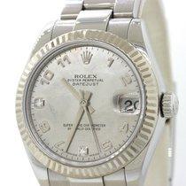 Rolex DateJust Steel 18k Bezel Diamond Dial 178274 31mm...