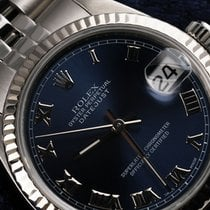 Rolex Men's Rolex 36mm Stainless Steel Datejust Navy Blue...