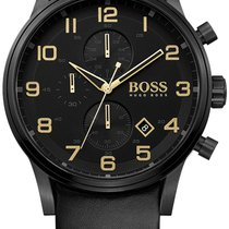 Hugo Boss Aeroliner Chronograph Black PVD Steel Mens Strap...