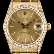 Rolex 18k Y/G Champagne Dial Diamond Set Datejust Mid-Size 68158