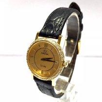 Omega De Ville 18k Gold Ladies Watch Diamond Bezel Gold Dial...