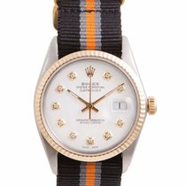 Rolex Mens 18K/SS Datejust White Diamond Dial - Black Orange...