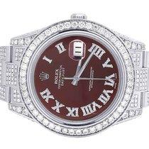 Rolex Mens Rolex Datejust II Full Iced 41MM 116300 Roman Dial...