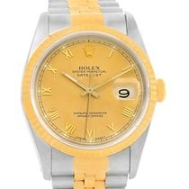 Rolex Datejust Steel 18k Yellow Gold Roman Numerals Mens Watch...
