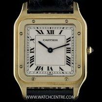 Cartier 18k Yellow Gold Silver Dial Santos Dumont Gents Watch