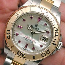 Rolex Yachtmaster 16623 Mens Steel & Yellow Gold White...