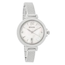 Bulova Ladies Diamond MOP Stainless Steel Quartz Watch 96P150