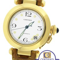 Cartier Pasha 35mm 1035 18K Yellow Gold White Dial Brown...