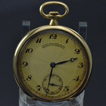 Patek Philippe 18K Yellow Gold Open Face Guilloche Dial 18 Jewel