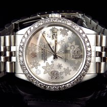 Rolex Mens Rolex 36 MM Datejust Oyster Flower Stainless Steel...