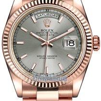 Rolex Day-Date 36mm Everose Gold Fluted Bezel 118235 Rhodium...
