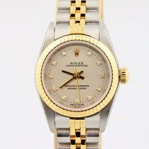 Rolex Oyster Perpetual Two Tone 18k Stainless Silver Diamond...