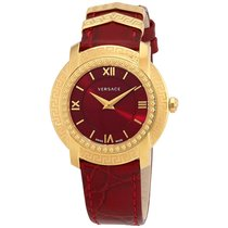 Versace DV25 Red Dial Ladies Leather Watch