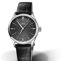 Oris CULTURA ARTELIER DATE DIAMONDS Grey Dial-Black Leather Strap