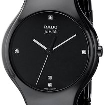 Rado True Jubile Black Ceramic Mens Watch Calendar Quartz...