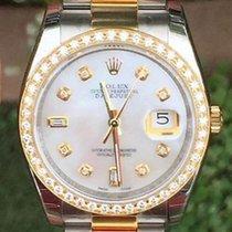 Rolex Mens 36mm Datejust 116203 Diamond Dial Bezel Steel 18k...