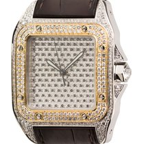 Cartier Santos 100 Large Diamond Set Watch with Gold Bezel and...