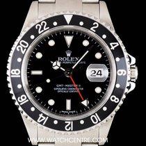 Rolex S/S Black Stick Dial GMT-Master II Gents B&P 16710