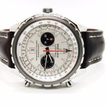 Breitling Chronomatic Silver Dial Chronograph On Brown Leather...