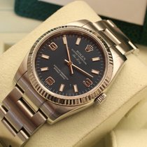 Rolex Air King new model white gold bezel , box papers