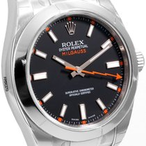 Rolex Steel 40mm Milgauss Black Luminescent Dial 116400 model