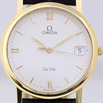 Omega DeVille 18K Gold white Dial Dresswatch Quarz Lederband