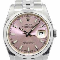 ロレックス (Rolex) Datejust 36 Pink DI Index Domed Bezel Jubilee...