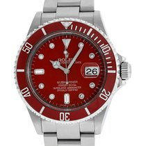 Rolex Stainless Steel Submariner 16610 Red Diamond Watch