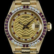 Rolex 18k Y/G O/P Rare Decorated String Dial Ruby & Dia...