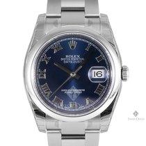 Rolex Datejust Stainless Steel Blue Roman Dial Smooth Bezel...