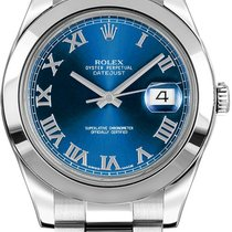 Rolex Datejust II 41mm Stainless Steel Blue Index Dial 116300 NEW